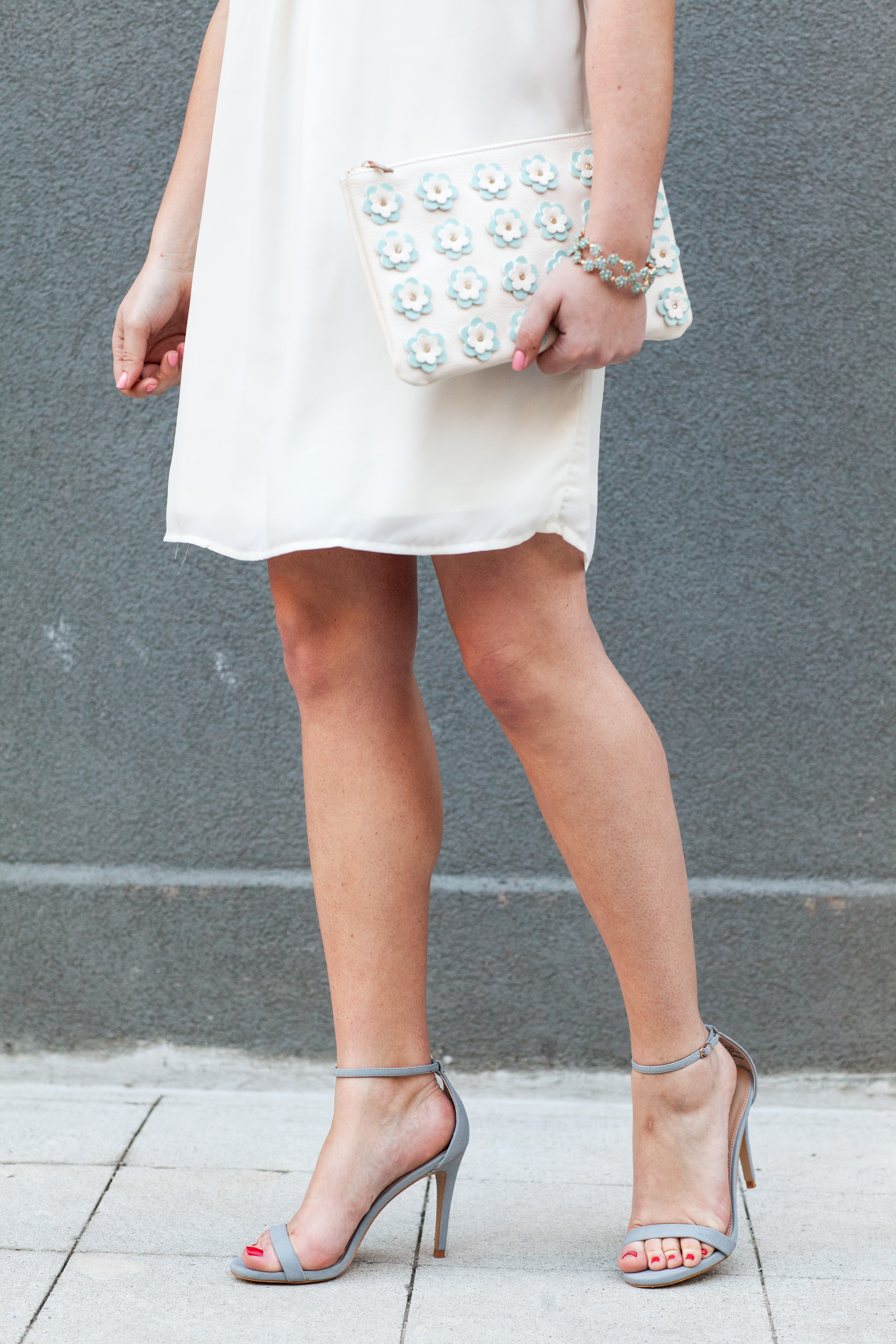 White Dress With Blue Heels