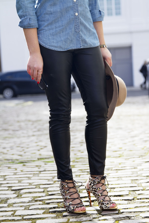 Chambray Shirt, Leather Pants, Leopard Lace-Up Sandals Outfit