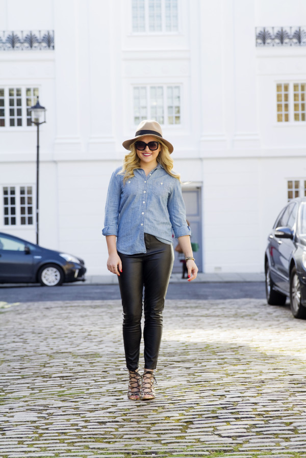 Chambray Shirt Leather Pants Leopard Sandals