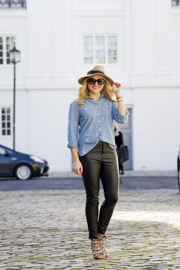 Chambray Shirt with Leather Pants Outfit