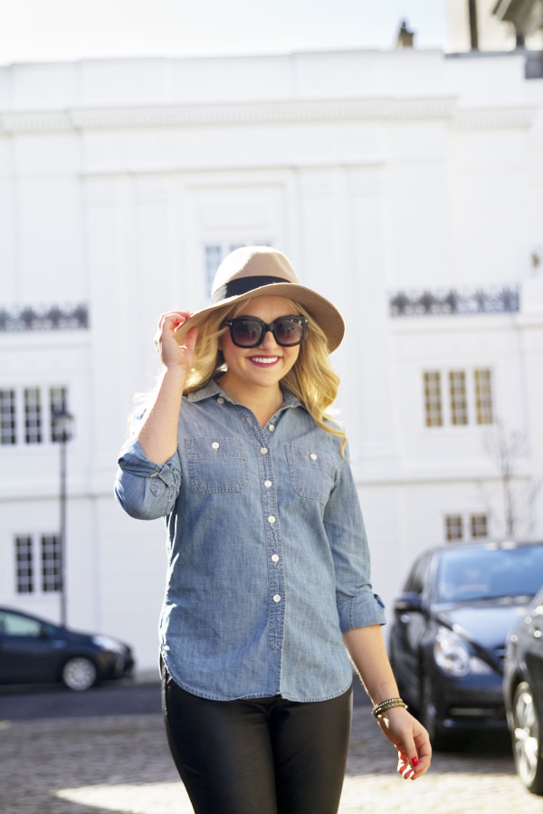 Chambray Shirt with Leather Pants and Hat