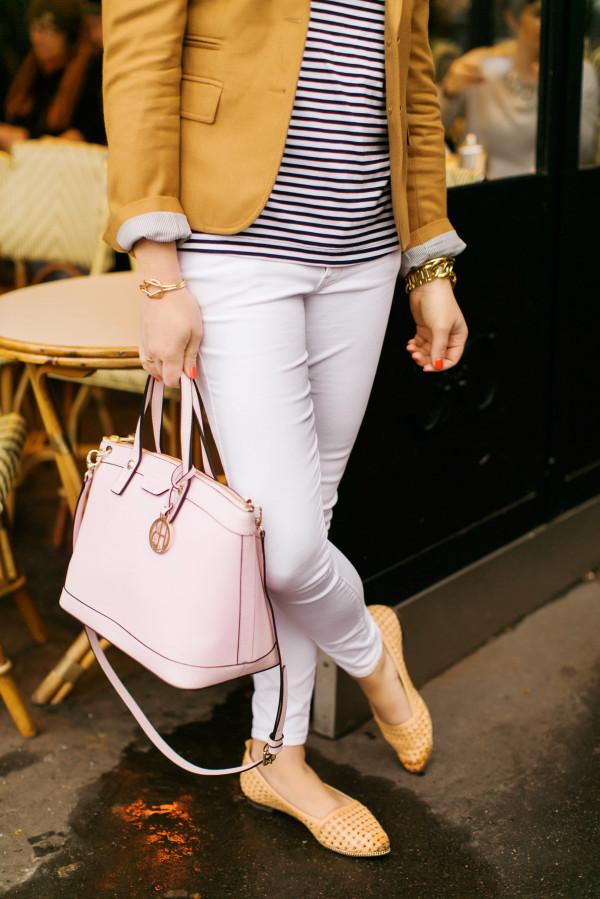 camel blazer, navy striped top, white jeans, basket weave flats, blush pink handbag