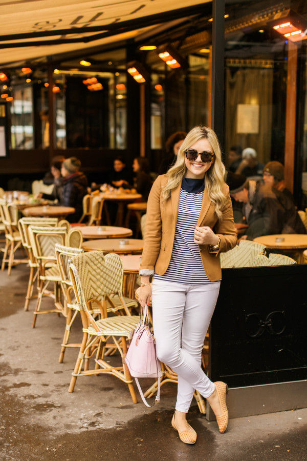 camel blazer, striped tank top, white jeans, spring outfit