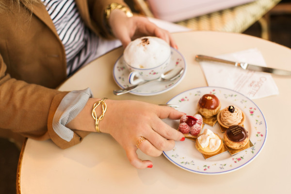 capwell + co gold knot cuff, paris, carette cafe, petit fours, cappuccino