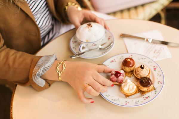 capwell + co gold knot cuff, paris, carette cafe, petit fours, cappuccino