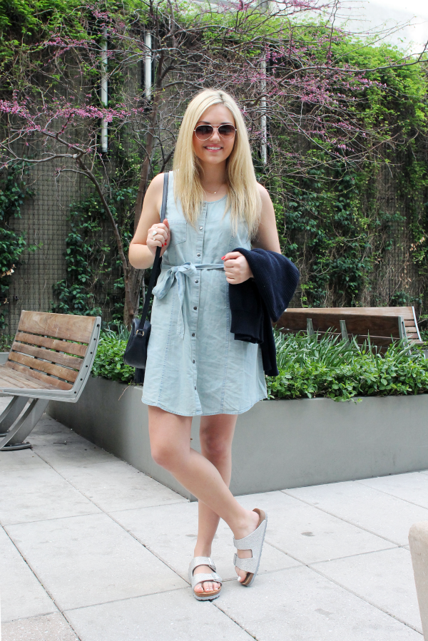 denim dress with birkenstocks summer festival outfit