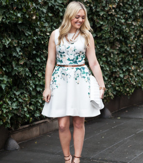 erin fetherston dress white floral scuba flare