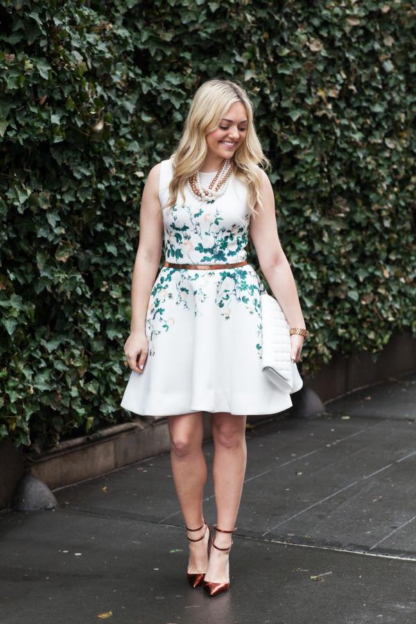 erin fetherston dress white floral scuba flare