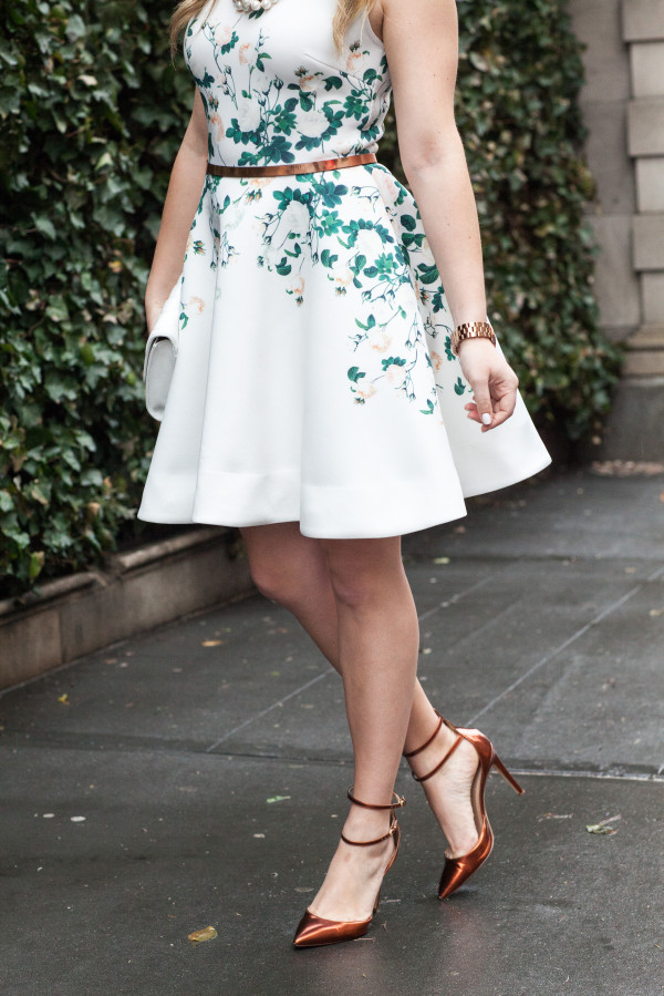 erin fetherston garden dress with rose gold copper accessories
