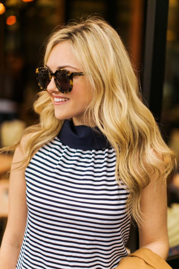 karen walker tortoise sunglasses, sail to sable striped tank top, beachy blonde waves