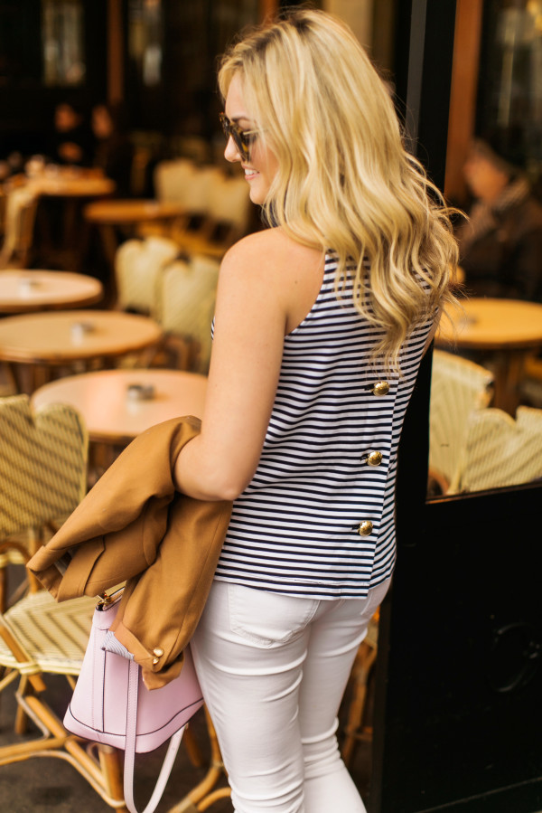 nautical striped tank top with gold buttons