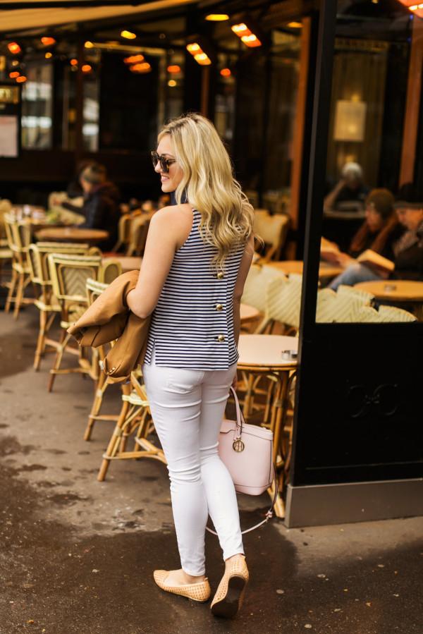 navy white striped tank top, white denim, nude flats, blush pink satchel