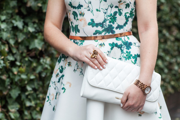 white quilted clutch