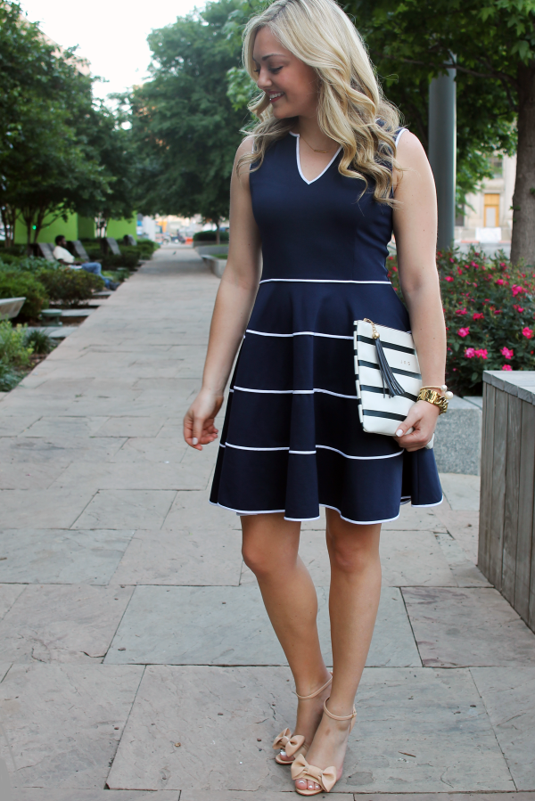 Sail-to-Sable-Navy-Dress-Red-Valentino-Bow-Wedges-Striped-Tassel-Clutch