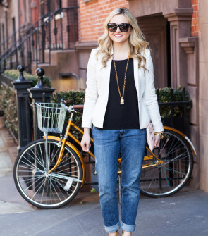 blazer and boyfriend jeans outfit spring