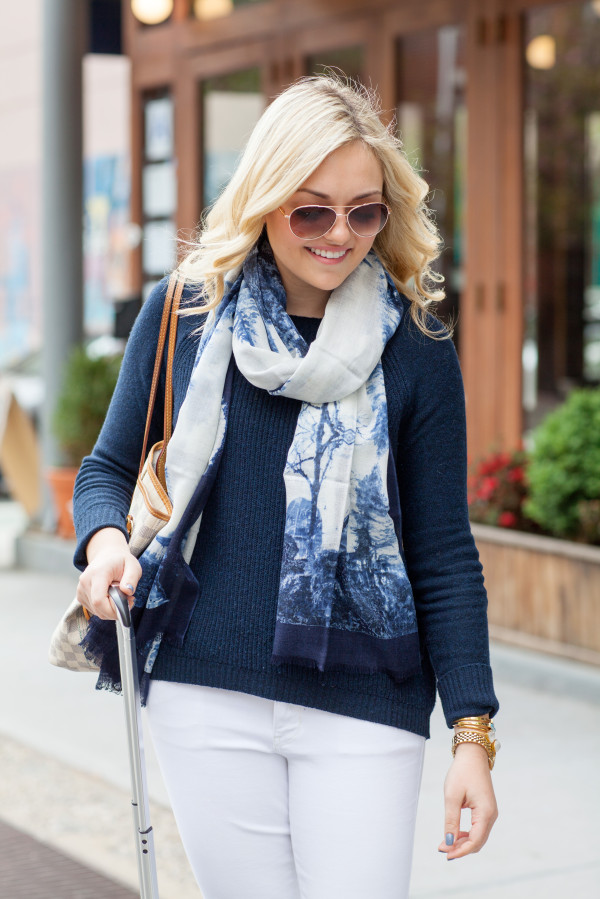 blue and white printed scarf joe fresh
