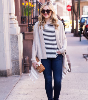 casual weekend outfit new york city spring stripes