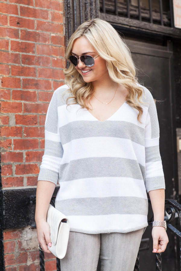 gray and white striped sweater express