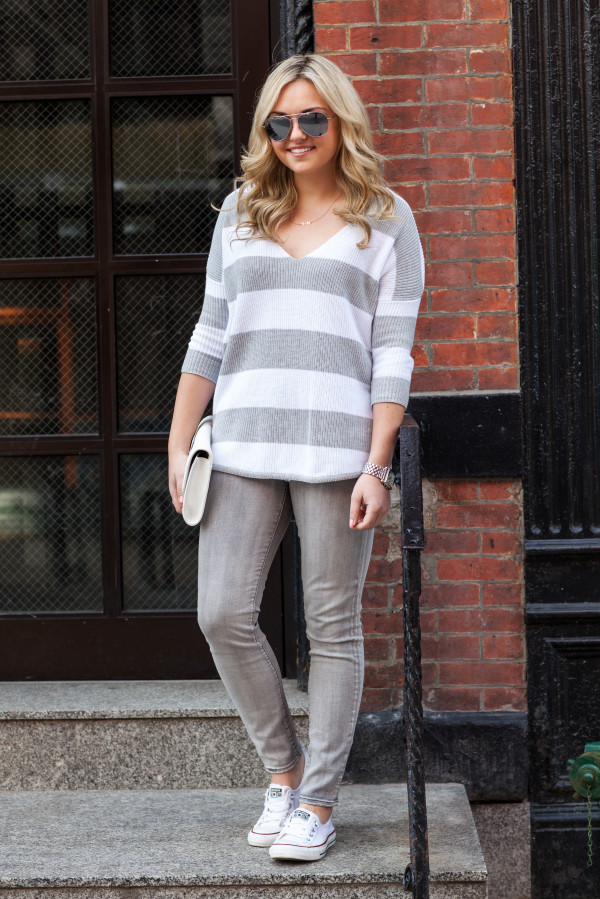 grey and white outfit converse slip on sneakers