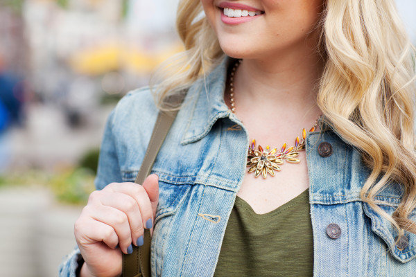 jean jacket and capwell + co statement necklace