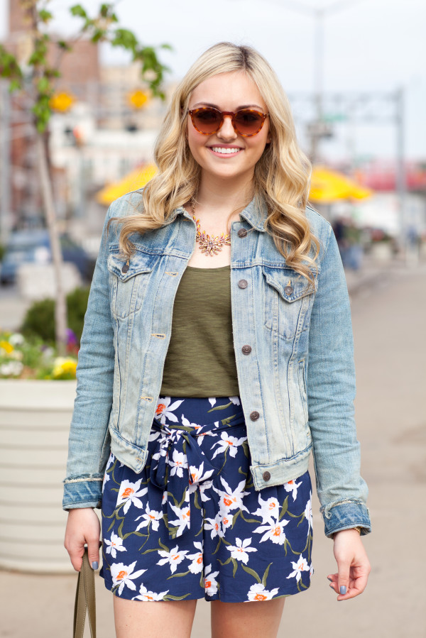 navy and olive green spring outfit