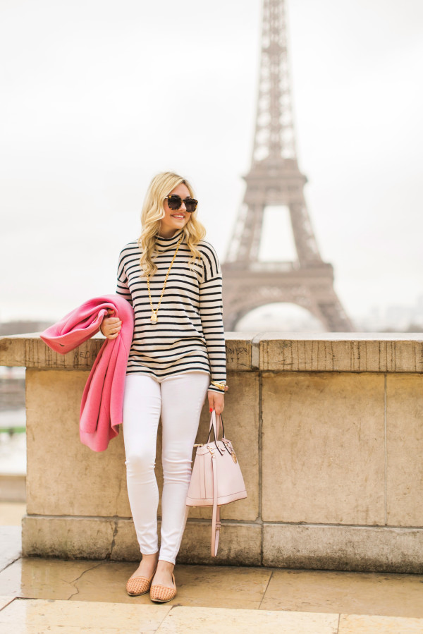 parisian outfit, eiffel tower, striped sweater, white jeans, pink coat, stacy reeves photography