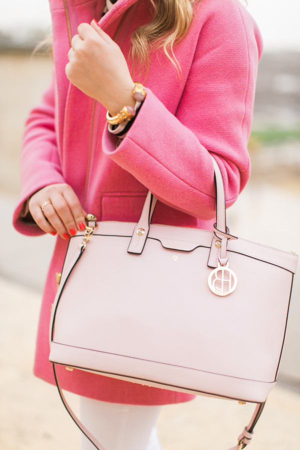 pink coat with blush pink bag