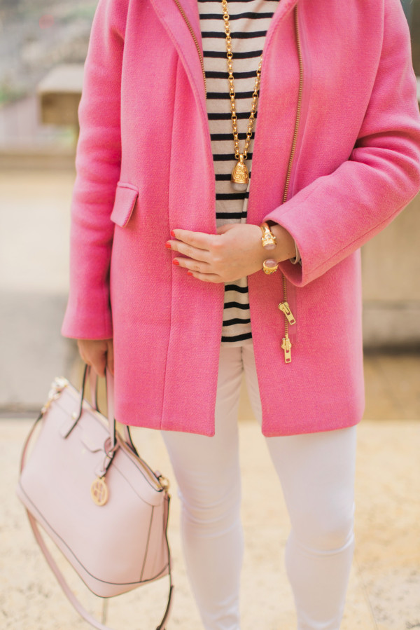 pink coat with white jeans paris