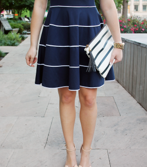 preppy-navy-and-white-dress-with-bow-wedge-sandals