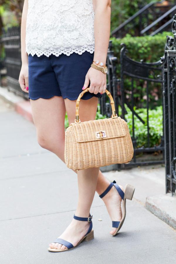 scalloped shorts wicker tote handbag