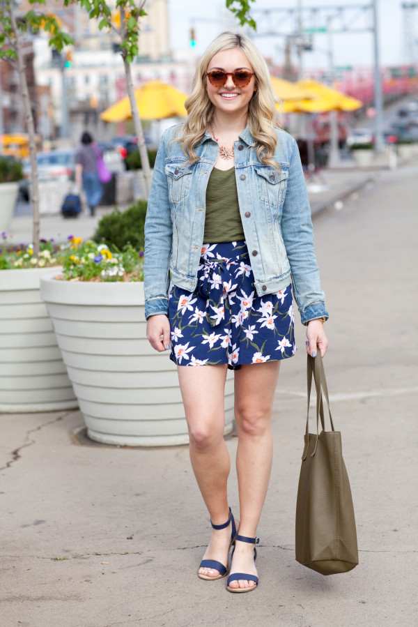 spring outfit - jean jacket with floral printed shorts