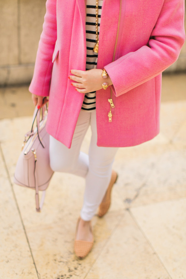 spring outfit, pink coat with white jeans, nude rachel zoe flats, pink henri bendel bag