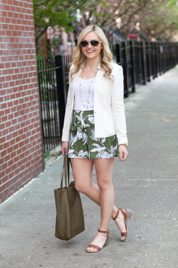 white blazer and floral shorts