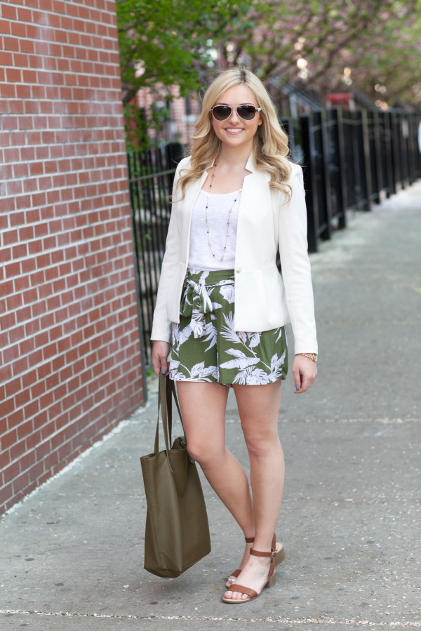 white blazer with floral print palm leaf shorts outfit
