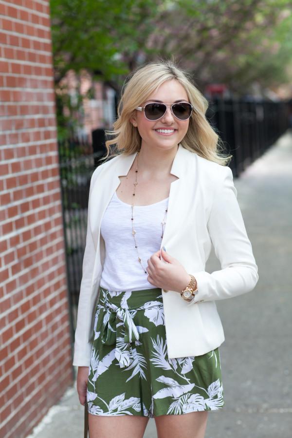 white blazer with palm leaf shorts
