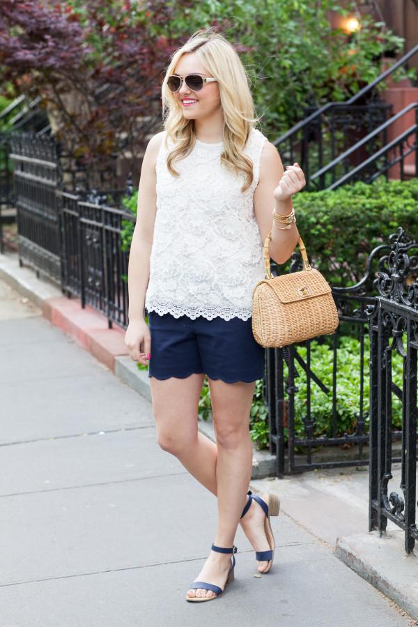 white lace tank top, navy scalloped shorts, wicker handbag, navy sandals, aviator sunglasses