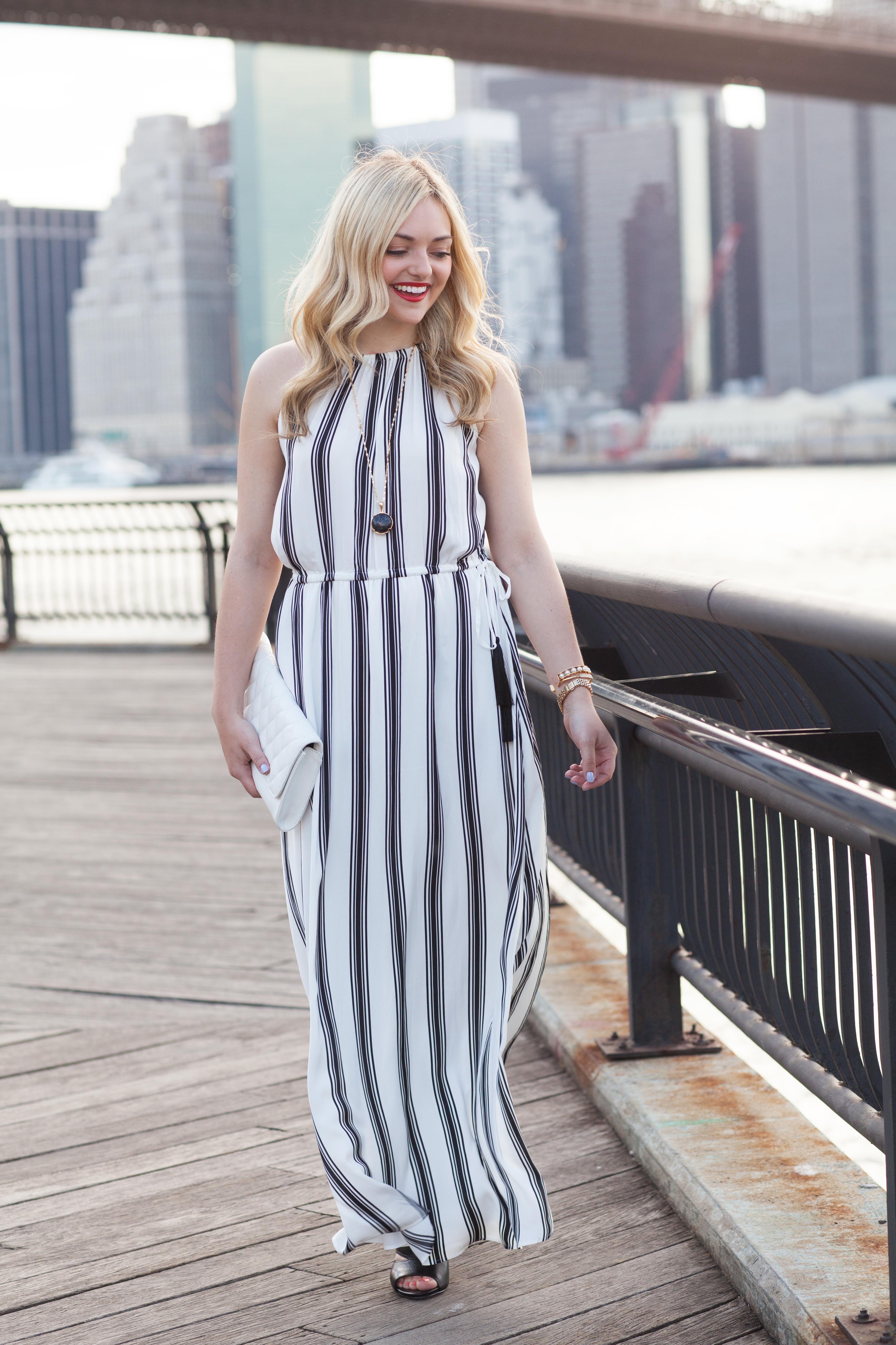 Black and grey striped maxi dresses
