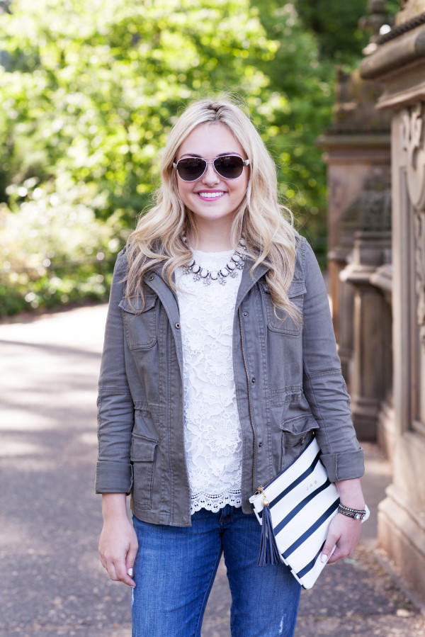cargo jacket with lace top