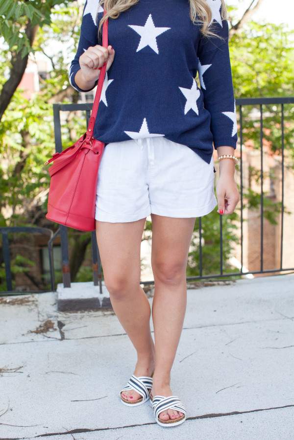 casual july 4th outfit star sweater stripe sandals red white and blue