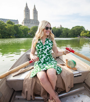 central park row boats, kate spade garden leaves dress, red valentino bow sandals, kate spade wicker snail bag