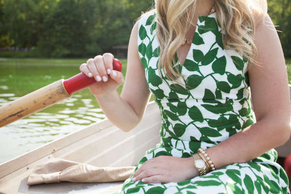 kate spade leaf dress, central park row boats