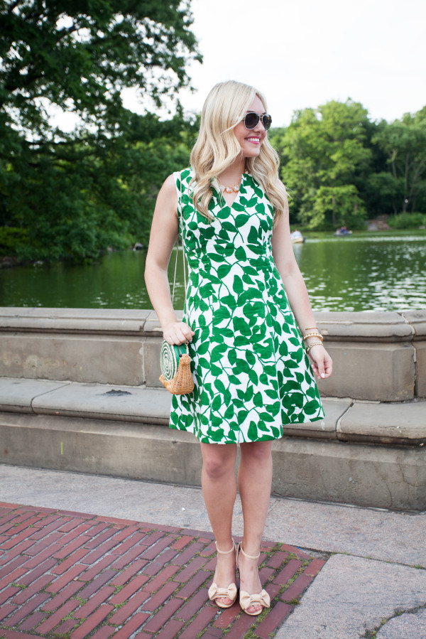 kate spade leaf dress, red valentino bow sandals