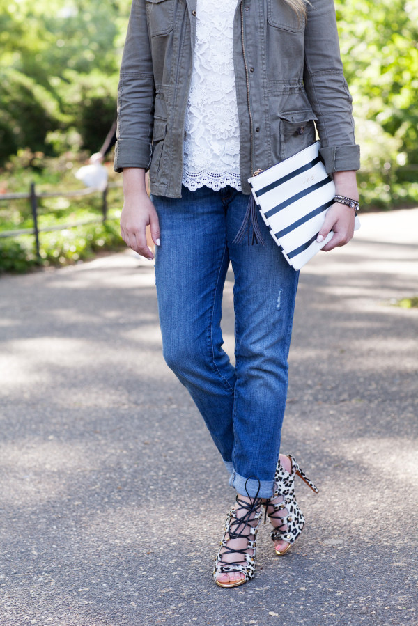 lace top, army jacket, boyfriend jeans, leopard heels, striped clutch