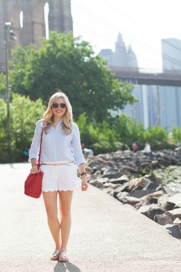 linen button front shirt, white scalloped shorts, jack rogers metallic sandals