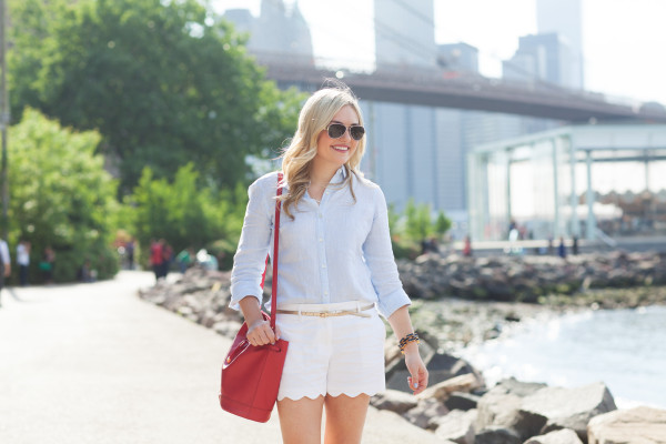 linen shirt with scalloped shorts