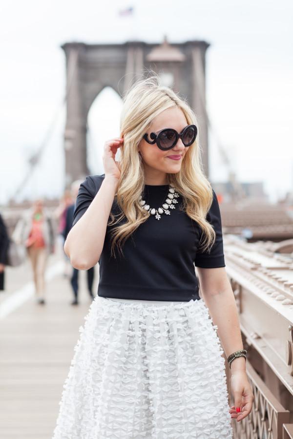 prada baroque sunglasses, tibi ribbon bow skirt, black crop top, bauble bar statement necklace