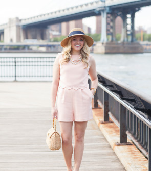 preppy outfit scallops wicker handbag bow wedges sun hat