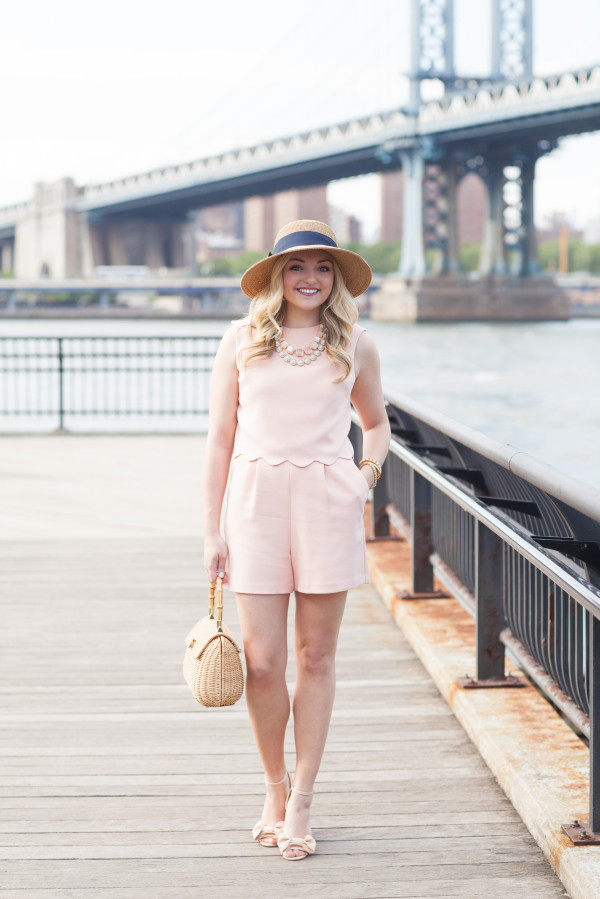 preppy outfit scallops wicker handbag bow wedges sun hat