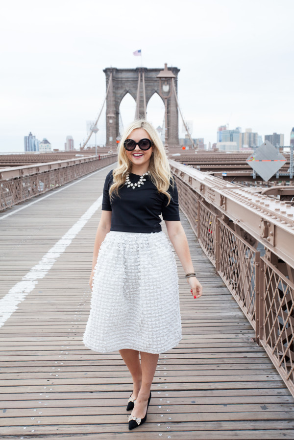 tibi bow skirt brooklyn bridge nyc