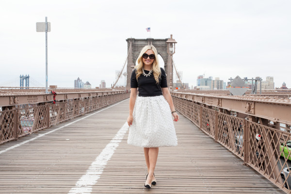 tibi bow skirt - kate spade bow heels - statement necklace - crop top - brooklyn bridge nyc - nyc blogger - outfit